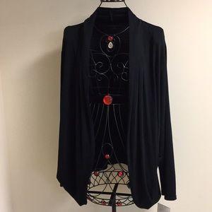 Black Cardigan Open Front Long Sleeve Tunic 3X